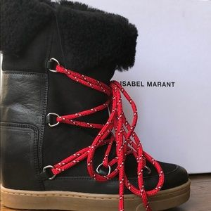 Isabel Marant Nowly Black High Snow Boots 35 NEW